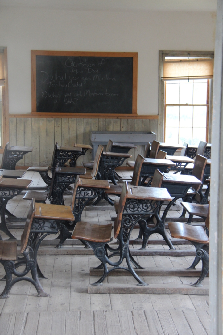 school desks in ghost town laurie best photo