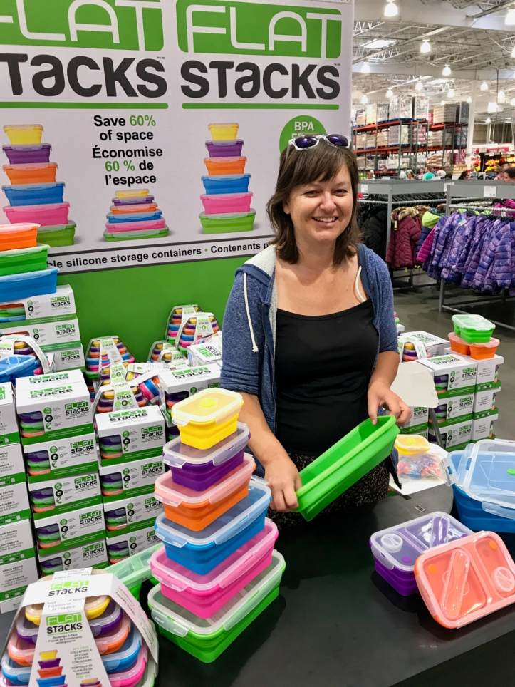 saleswoman show collapsible flat stacks laurie best photo